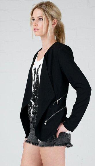jacket angl blazer black profesional work attire black blazer new arrival