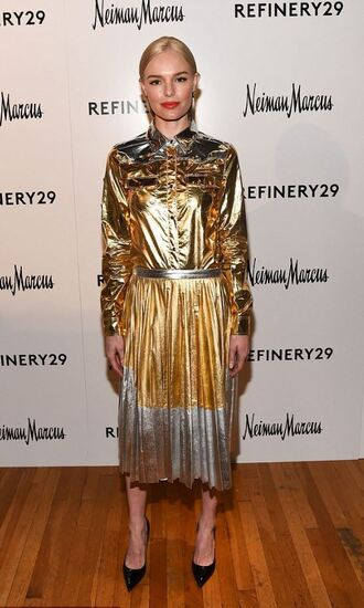 skirt shirt gold midi skirt metallic kate bosworth