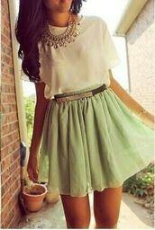 skirt,mint,mint skirt,mint skater skirt,white,white shirt,white poofy shirt,jewels,shirt,belt,top