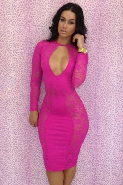 Red Sexy Dress - Bqueen Cut Out Front Lace | UsTrendy