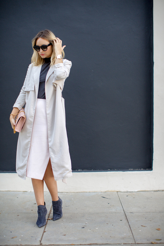 late afternoon blogger coat top skirt shoes bag sunglasses jewels