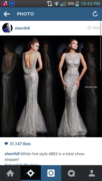 sherri hill prom dress silver dress backless dress sparkly dress elegant dress evening dress