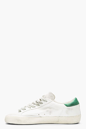 Golden Goose White & Green Leather Superstar Sneakers for men | SSENSE