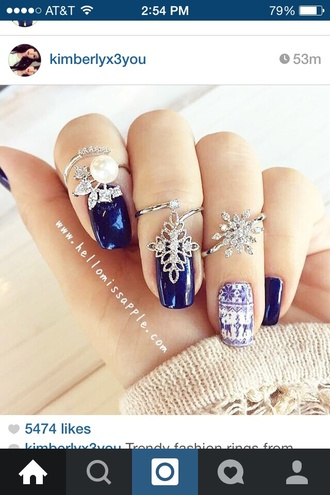jewels winter outfits snowflake snowflakes snowflake ring silver pearl midnight blue blue holiday season
