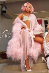 coat,pink,Pin up,pastel coat,girly,sheer,pink sheer,40's,pastel pink,feathers,robe