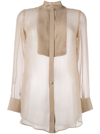 shirt sheer shirt pleated sheer nude top
