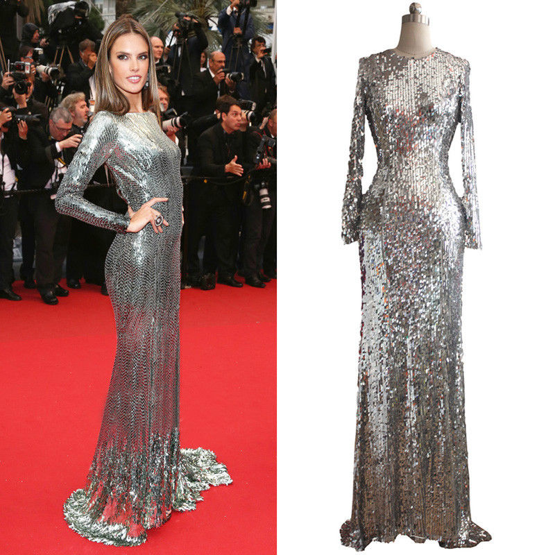 2013 Long Sleeve Silver Sequins Women Prom Formal Evening Cocktail Ball Dress | eBay