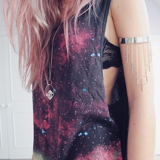 silver bracelet cross arm cuff silver necklace pendant galaxy print muscle tee print pink hair tie dye