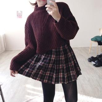 skirt plaid skirt mini skirt oversized sweater leggings sweater