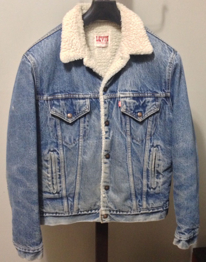 LEVI s Vintage Men s Small 40 Long Red Tab Denim Blue Trucker ... e73738939