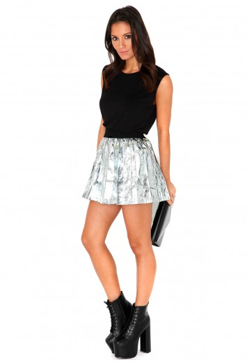 Monies Metallic Pleated Skirt-skirts-missguided
