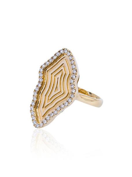 women ring gold yellow grey metallic jewels