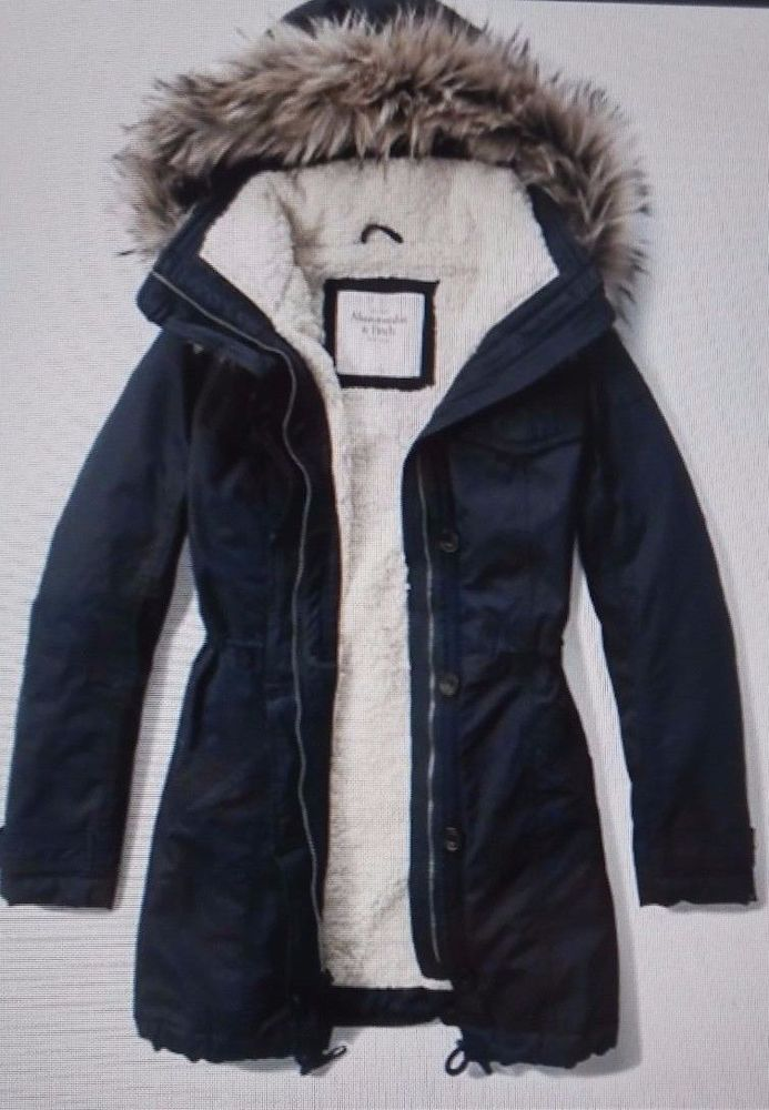 Abercrombie Women Military Parka outerwear jacket Hood size L new ...