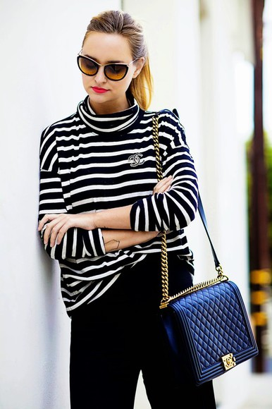 late afternoon blogger sunglasses bag stripes turtleneck