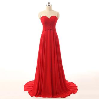 dress prom prom dress fashion strapless red dress red prom dress red red carpet dress style cute trendy girly wow maxi maxi dress sweetheart dress chiffon chiffon dress long dress