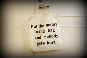 bag,money,white,clothes,door,purse,quote on it,black,black and white