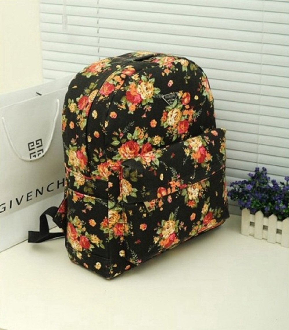 com: Crazy Genie Women's Canvas Floral Vogue Ladies Flower Print ...