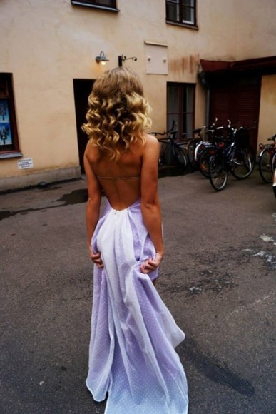 dress purple low back blonde