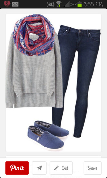 toms scarf jeans blue toms grey sweater