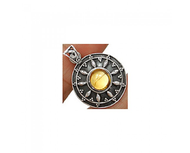 Genuine 925 Sterling Silver Cabochon Citrine Pendant