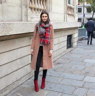peexo blogger tartan scarf camel coat