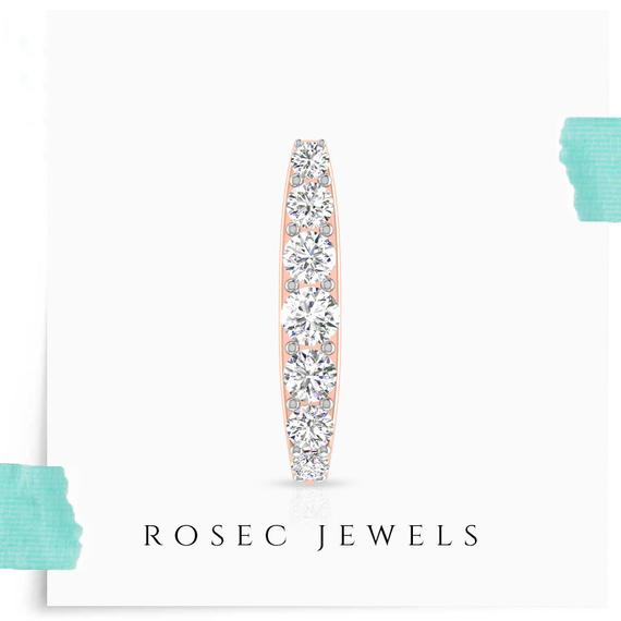 Gold Diamond Huggie Earring, J-Shaped Half Hoops, Tiny Diamond Small Looped, Half Hoop Screw Back Earring, Birthday Anniversary Gift for Her