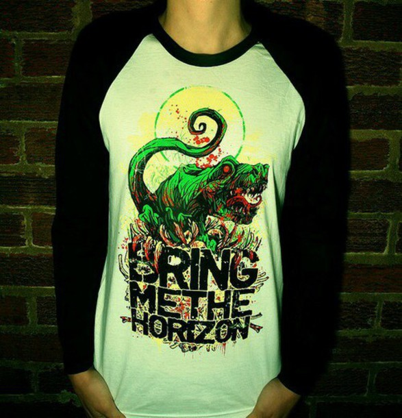 shirt bring me the horizon dinosaur amazing cool shirts baseball tee