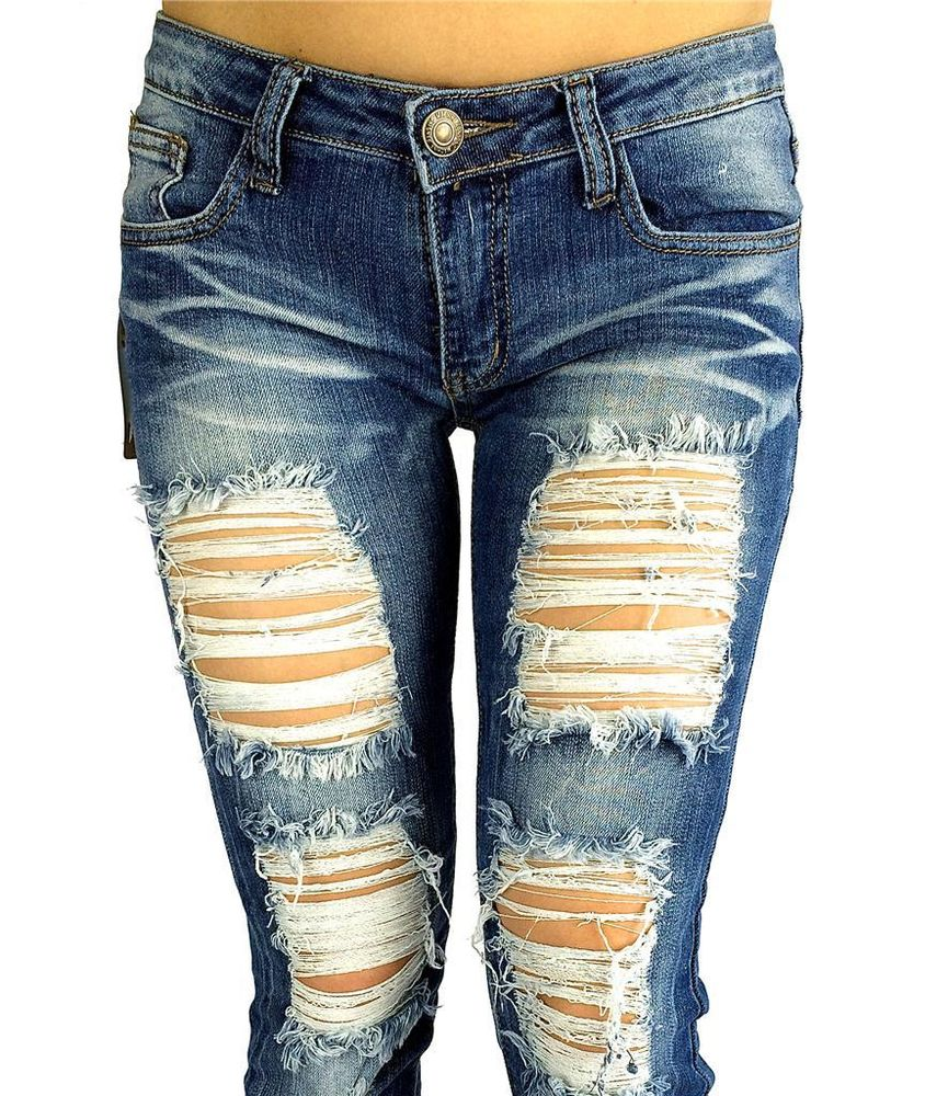 cutout JEANS DESTROYED RIPPED DISTRESSED WOMEN SKINNY SLIM BLUE ...