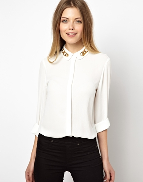 ASOS | ASOS Shirt with Chain Print Collar at ASOS