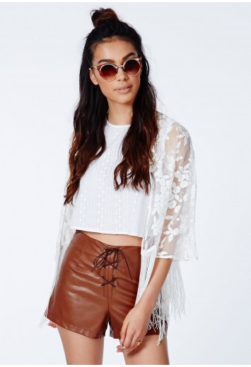 Missguided - Loveena Faux Leather Lace Up Hotpants
