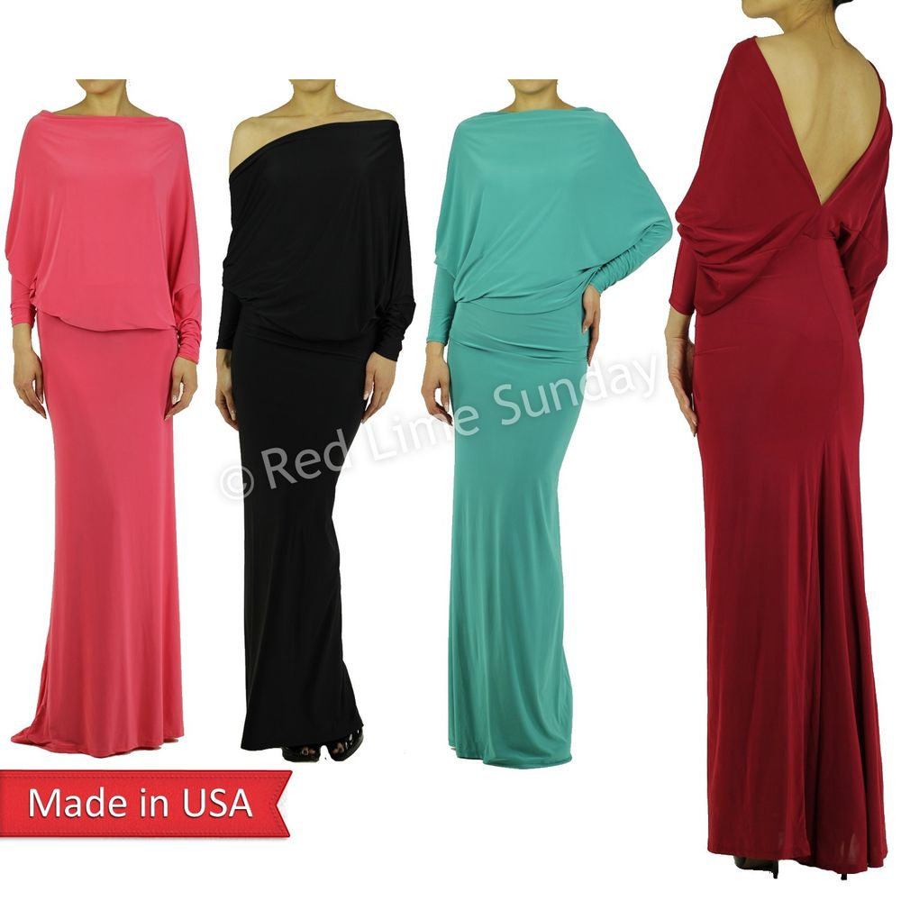 New Women Fashion Sexy Open V Back Dolman Sleeve Long Flared Maxi Dress Gown USA