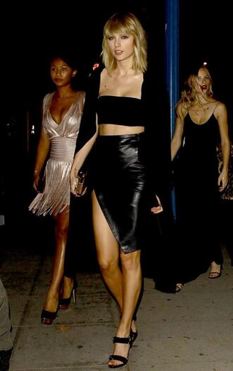 skirt leather skirt asymmetrical all black everything coat bandeau top crop tops strapless taylor swift sandals shoes dress