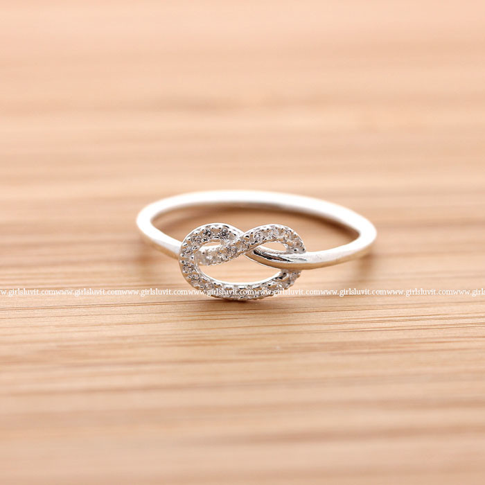 Sterling silver, tiny knot heart with crystals ring