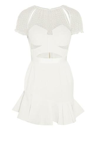 dress white mini dress mini dress white dress white lace dress mesh mesh dress self portrait