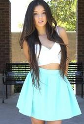 skirt,scuba skater skirt,mint,scuba skirt,skater skirt,bubble skirt,mint skirt,tank top