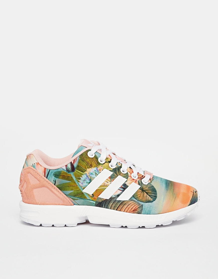 quality design 9e19e 180e4 adidas Originals ZX Flux Dust Pink Print Trainers at asos.com