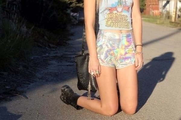 shorts hipster holigraphic tumblr shorts cute