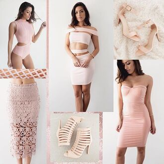 dress blush pink rose quartz rose beige tan nude heels lace dress lace skirt bodysuit latex gojane