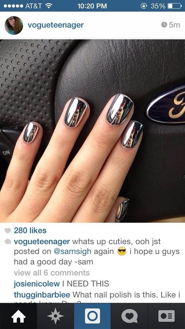 nail polish metallic silver nail polish silver tumblr hipster hipster nail polish nails nail polish