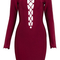 Long sleeve lace up bandage dress burgundy