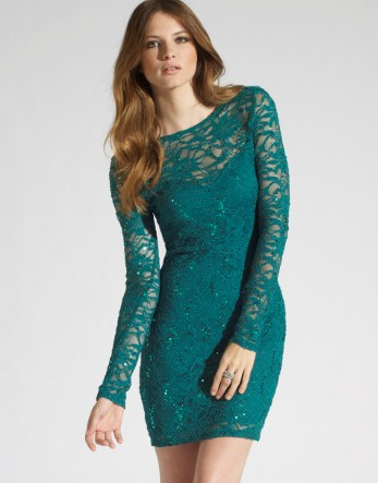 Lipsy sequin lace long sleeve dress