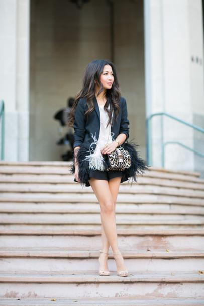 wendy's lookbook blogger feathers leopard print blazer top jacket bag shoes jewels