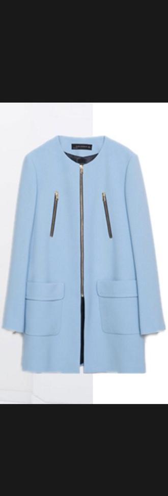 coat zara zara jacket light blue zip up jacket
