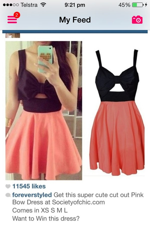 dress black pink bow cut dress cute short