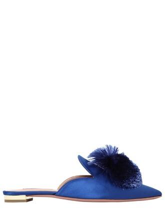 mules satin blue shoes