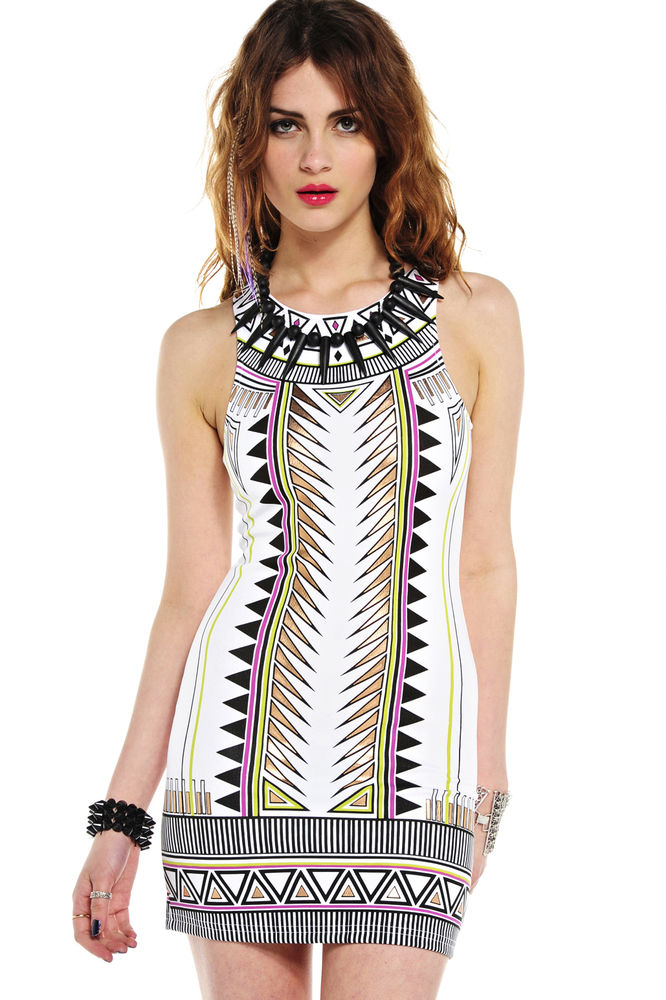 Mink Pink White Techno Tribe Aztec Print Mini Bodycon Dress | eBay