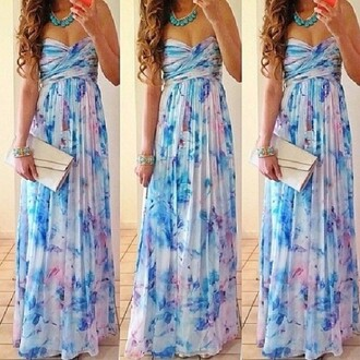 dress long prom dress floral dress strapless dress gorgeous summer dress blue white cute dress girly cute thing