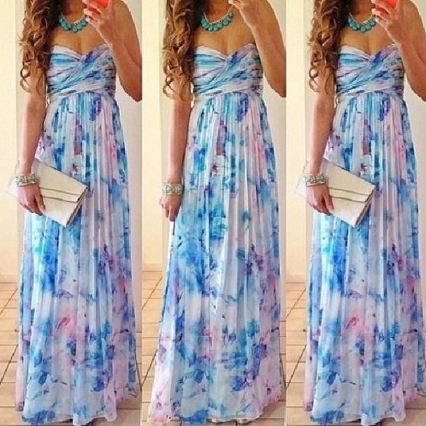 dress long prom dress floral dress strapless dress gorgeous summer dress blue white cute dress girly dress cute thing