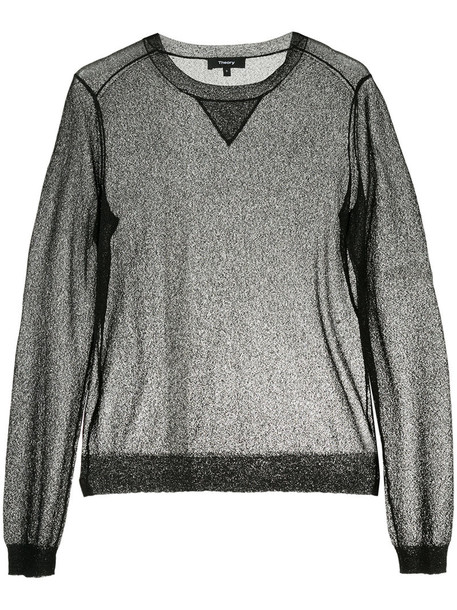 Theory - sheer long sleeved top - women - Polyamide/Rayon - S, Black, Polyamide/Rayon