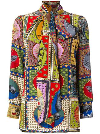 shirt bow women print silk top